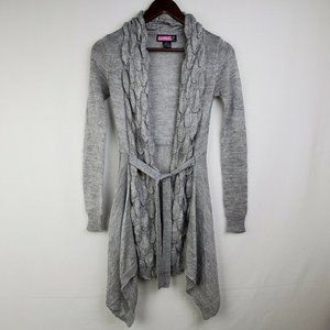 Say What Sweater Gray Cardigan Tie Waist Long